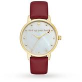 Kate Spade Ladies Metro Burgundy Leather Strap Watch KSW1209