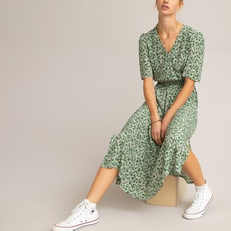 La Redoute Collections Floral Wrapover Midi Dress with Short Puff Sleeves and Smocking