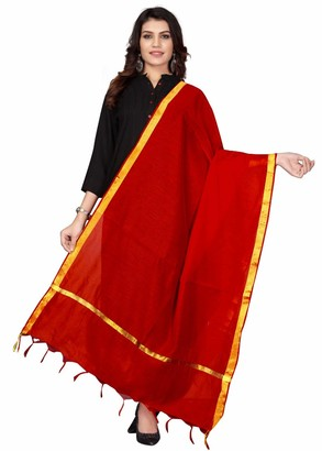 Crocon Women's Chanderi Silk Long Women's Dupatta Free Size | Scarf | Shawl Wrap-Dark Rama