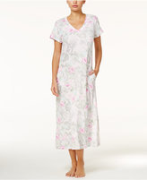 Miss Elaine V-Neck Printed Knit Nightgown