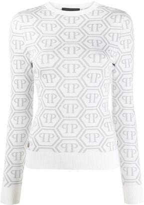 Philipp Plein Logo Print Long Sleeve Knitted Top