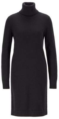 BOSS Rollneck sweater dress in a wool-cotton blend