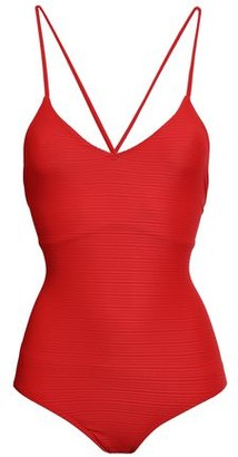 Jets Disposition Lace-up Ribbed Swimsuit