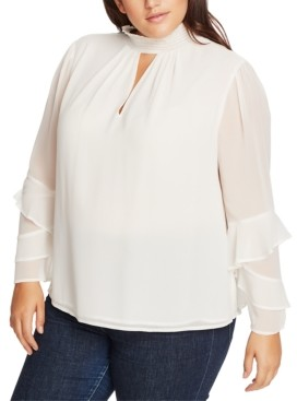 1 STATE Trendy Plus Size Smocked Ruffle-Sleeve Top