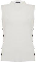 Mint Velvet Popper Side Funnel-Neck Knitted T-Shirt, Ivory