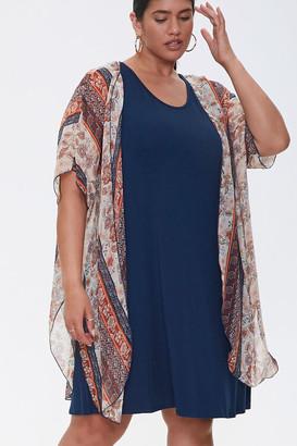 Forever 21 Plus Size Dress Kimono Set
