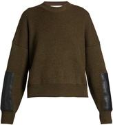 Stella McCartney Contrast-panel round-neck wool sweater