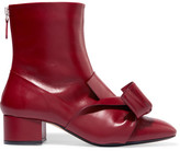 No.21 No. 21 - Knotted Leather Ankle Boots - Burgundy