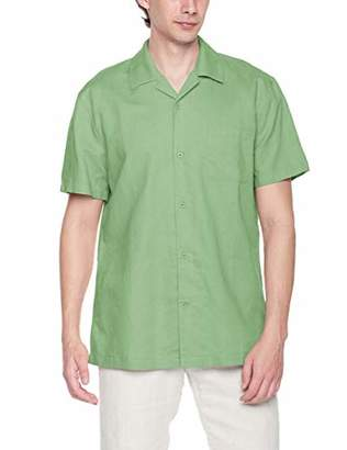 Ross&Freckle Men's Standard Fit Linen Cotton Blend Solid Short Sleeve Woven Casual Shirt