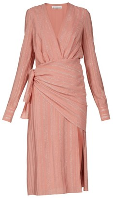 Altuzarra Sparks Lame-striped Georgette Midi Dress - Light Pink