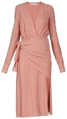 Altuzarra Sparks Lame-striped Georgette Midi Dress - Womens - Light Pink