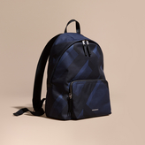 Burberry Leather Trim Check Print Backpack