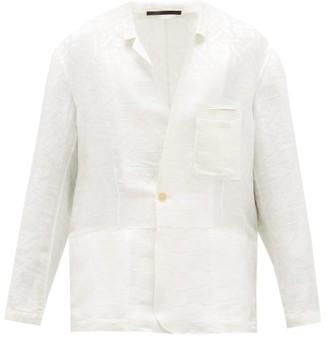 Haider Ackermann Geometric-jacquard Linen-blend Blazer - White
