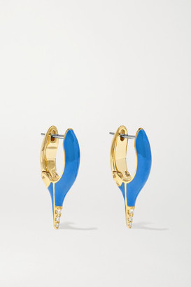Melissa Kaye Lola Mini 18-karat Gold, Diamond And Enamel Earrings - one size