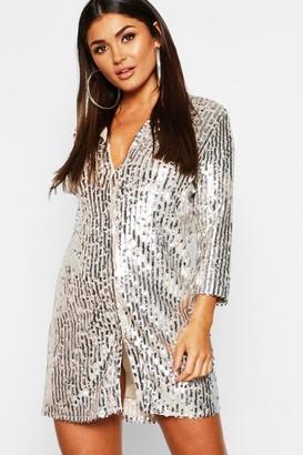 boohoo Sequin Oversized Shirt Dress