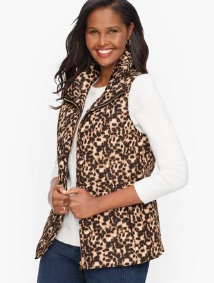 Talbots Down Puffer Vest - Leopard Print