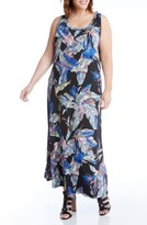 Karen Kane Plus Size Women's Leaf Print Jersey Maxi Tank Dress