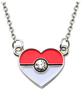 "Pokemon Poké Ball Stainless Steel Heart Pendant with Chain (18"" + 2"" ext.)"