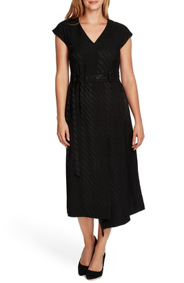 Vince Camuto Satin Jacquard Stripe Belted Dress