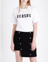 Versus Logo-embroidered cotton-jersey t-shirt