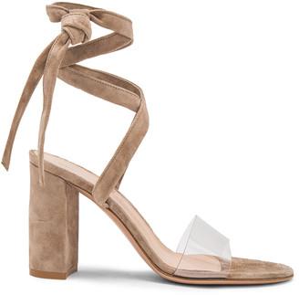 Gianvito Rossi Suede & Plexi Strappy Sandals in Transparent & Bisque | FWRD