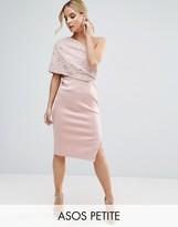 Asos Scattered Embellished One Shoulder Scuba Midi Pencil Dress