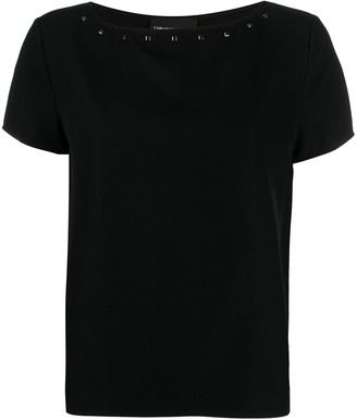 Emporio Armani studded boat neck T-shirt