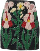 Gucci Leather Flower Intarsia Mini Skirt