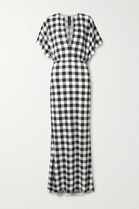 Norma Kamali Obie Checked Stretch-jersey Maxi Dress - Black