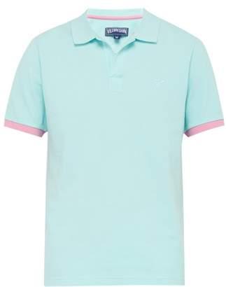 Vilebrequin Tipped-cuff Open-collar Cotton-pique Polo Shirt - Mens - Blue Multi