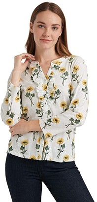 Lucky Brand Long Sleeve Button-Up Floral Ruffle Henley Top (Yellow Multi) Women's Clothing