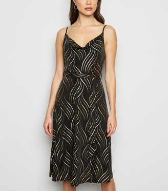 New Look Blue Vanilla Metallic Swirl Slip Dress