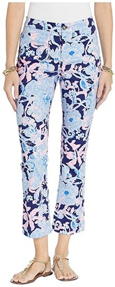 Lilly Pulitzer Kelly High-Rise Crop Flare Pants (Bright Navy Amore Please) Women's Casual Pants