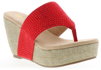 Volatile Women's Sandals RED - Red Rhinestone-Accent Andesa Wedge Sandal - Women