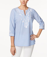 Charter Club Cotton Embroidered Striped Tunic, Only at Macy's