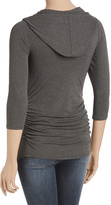 Charcoal Side-Ruched V-Neck Hooded Maternity Top - Plus