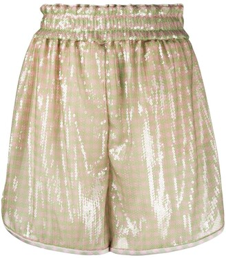 Fendi Sequin Embroidered Striped Shorts