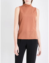 French Connection Mock-neck chiffon and jersey top
