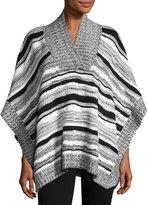 525 America Stripe-Knit V-Neck Poncho, Black Combo