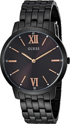 GUESS Stainless Steel Black Ionic Plated Bracelet Watch with Rose Gold-Tone Markers. Color: Black (Model: U1072G3)