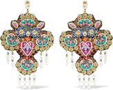 Gucci Beaded Gold-tone, Crystal And Faux Pearl Clip Earrings - Blue
