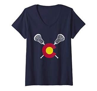 LaCrosse Womens Colorado Flag V-Neck T-Shirt