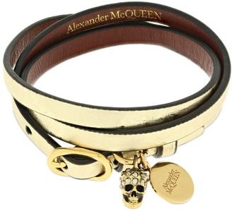 Alexander McQueen Wrap Leather Bracelet W/ Skull
