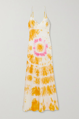 Dannijo Tie-dyed Silk-satin Midi Dress - Orange