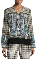 Etro Long-Sleeve Multi-Print Wrap Blouse, Green
