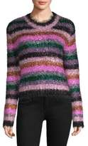 Milly Fuzzy Stripe Metallic Sweater