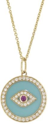 Sydney Evan Bezel Evil Eye Enamel Medallion EXT Tiffany Necklace - Yellow Gold