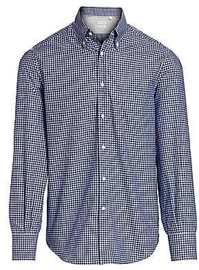 Brunello Cucinelli Men's Box Print Button-Down Shirt