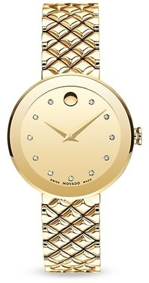 Movado Sapphire Diamond Stainless Steel Bezel-Free Quilted Bracelet Watch