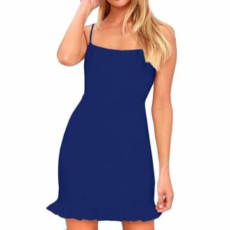 Toamen Women's Dress Sale Clearance Sexy Sleeveless Spaghetti Shoulder Strap Skinny Lace Hem Slim Evening Party Mini Dress(Blue 14)